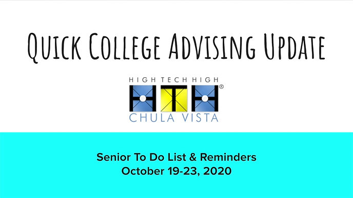 10/19/2020 - Weekly College Advising Update for Seniors