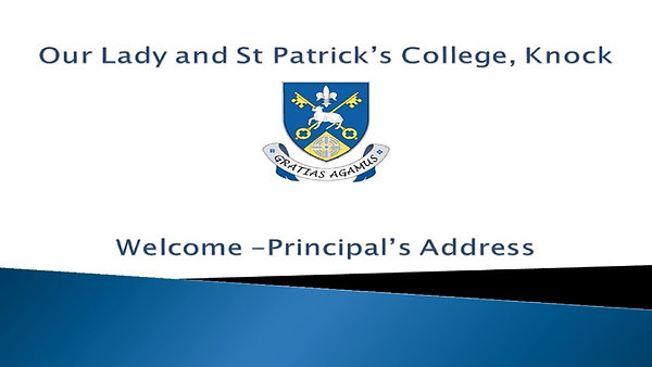 Welcome - Principal's Address