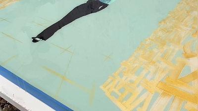 Epoxy Resin Finish w/ Mixed Media on 33 x 47 inch Canvas