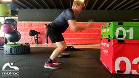 Hamstring revalidatie Box Jump voorbeeld