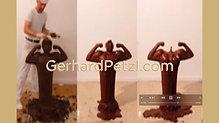 Journey to inner self - bronze and chocolate sculpture by artist Gerhard Petzl