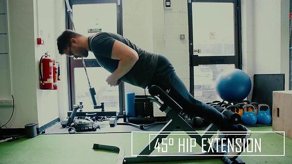 45 degree hip extension