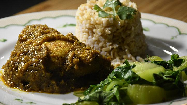 Bali Chicken (Ayam Betutu) with Sayur Hijau and Brown Rice