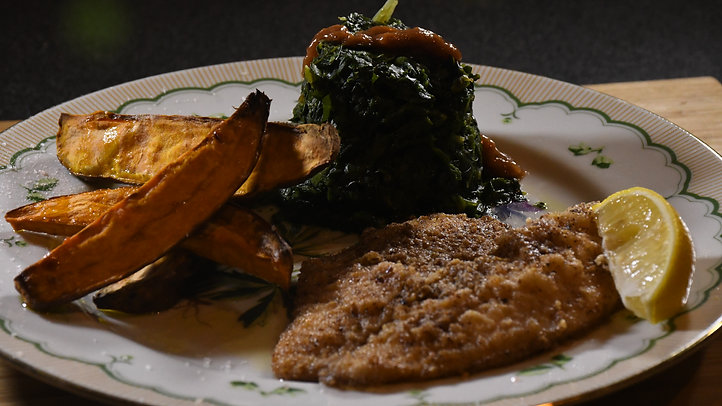 Pecan Crusted Tilapia, Roasted Sweet Potato and Wilted Spinach