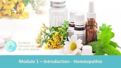 Module 1 - Introduction -Homéopathie