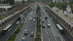 צילום רחפן מעל כביש בגין בירושלים