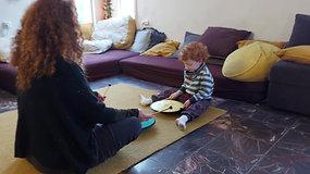 Children play in living room