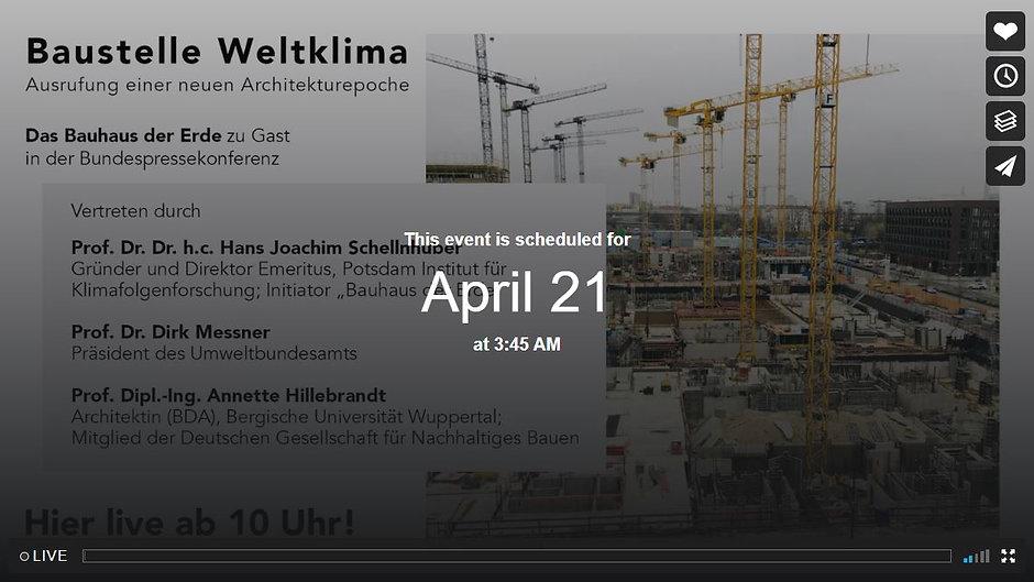 """Pressekonferenz """"Bauhaus der Erde"""" 21.4.2021 10.00 Uhr"""