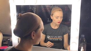 Justyna Kostek becoming Marlene Dietrich (makeup & wig by Wendy Parson)