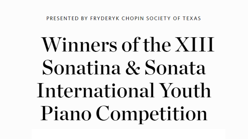 2018 XIII Sonatina and Sonata International Youth Piano Competition