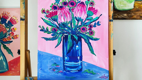 Pink n Mint Banksia Vase - Acrylic Painting Class 5