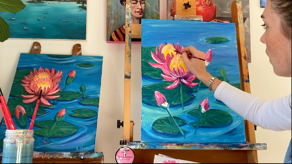 Water lillies- Acrylic Painting Class 6