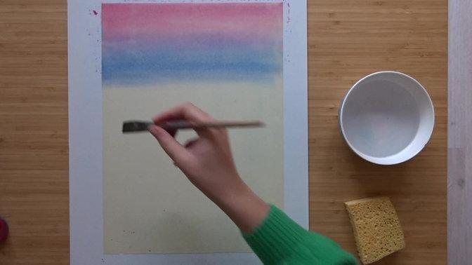 Regenboog schildering Nat-in-nat
