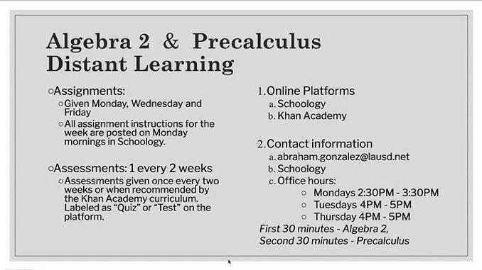Algebra 2 & Precalculus Distance Learning