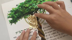 """Applying gold leaf to two """"Tree-of-Life"""" Home blessings, and packaging ready for shipping"""