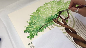 "Painting an original watercolour ""Tree-of-life"" Ketubah"