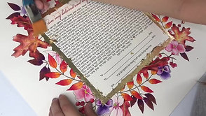 "Applying gold leaf to a ""Autumn Splendor"" watercolour original Ketubah"