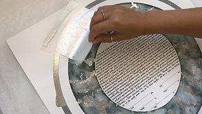 "Applying silver leaf to a ""Silver Marble"" Ketubah Print"