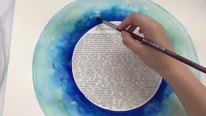 "Painting an original watercolour ""Lagoon"" Ketubah"