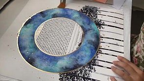 "Applying gold leaf to a ""Stargazing"" Ketubah Print"