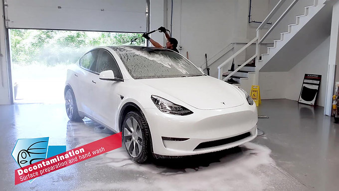 Tesla Model Y process for installing Paint Protection Film and Ceramic Coating by Immaculate Paint Protection