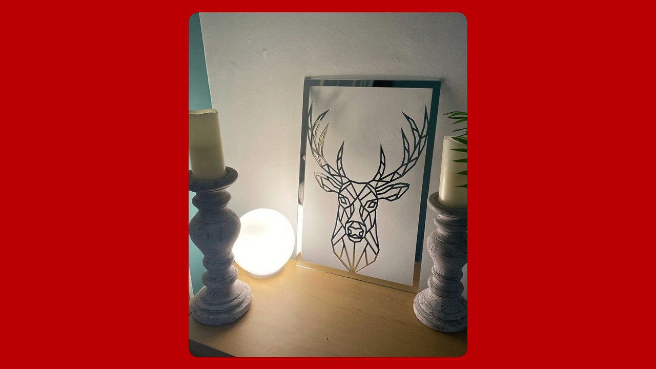 Laser Cut Acrylic Wall Art - Stag Head