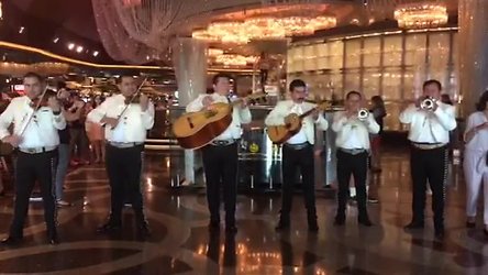 Mariachi's in front of Chandelier Bar at Cosmo 2014