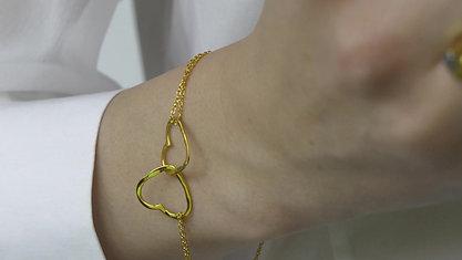 BRACELET - (HEART) - (GOLD)