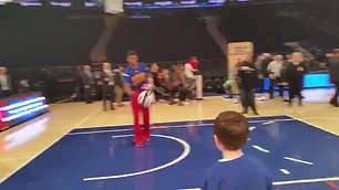 The IWL gave this young boy his Christmas wish, a pre-game session with the Harlem Globetrotters.  He and his 3 siblings had recently lost their father to cancer.
