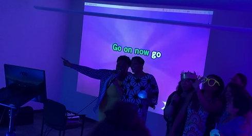 Karaoke on a Projector Screen