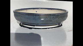 Blue Glazed Stoneware Round Literati Bonsai Pot 770