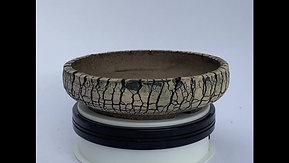 Round Black and White Split Finish Bonsai Pot 1058