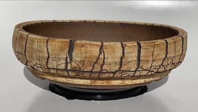 Round  White and Brown Split Finish Bonsai Pot 1075