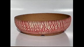 Round Red and White Split Finish Bonsai Pot 985