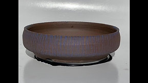 Round Blue and Brown Split Finish Bonsai Pot 1014