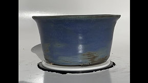 Blue Stoneware Round Cascade Bonsai Pot 1083