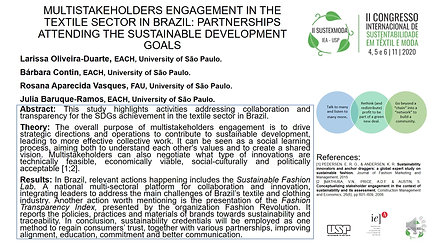 GT2 B583.112 - MULTISTAKEHOLDERS ENGAGEMENT IN THE TEXTILE SECTOR IN BRAZIL: PARTNERSHIPS ATTENDING THE SUSTAINABLE DEVELOPMENT GOALS