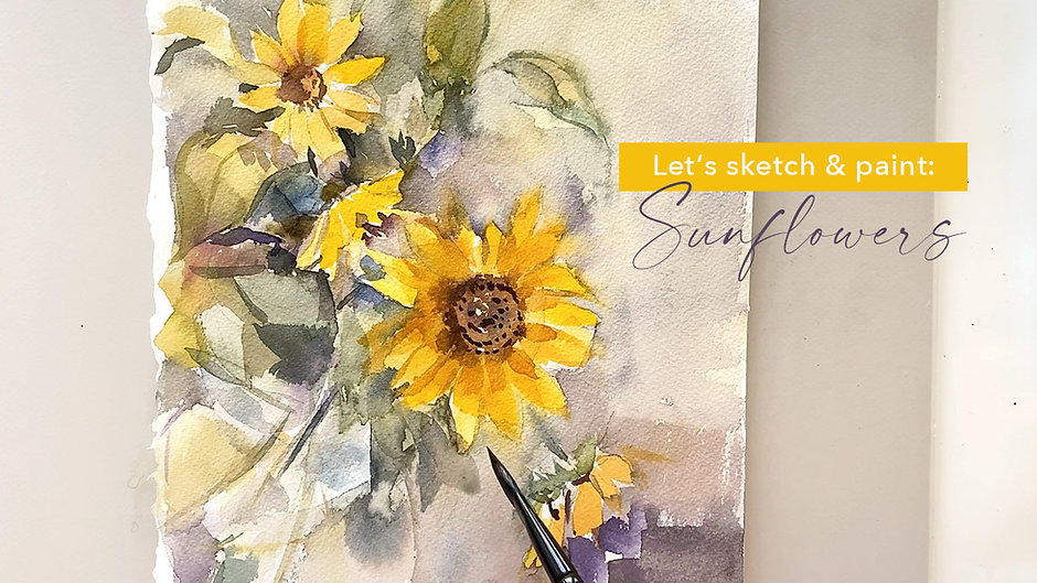 Sunflowers - Loose Watercolor Painting Techniques