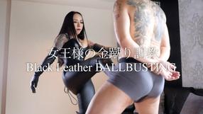 Black leather ball busting sample