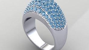 Ring Pave Dia blau