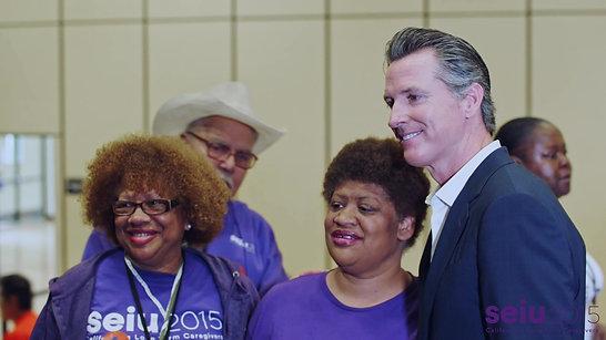 Gavin Newsom Stands with SEIU Caregivers