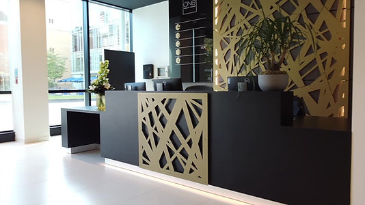 Egger & Formica Laminate, Laser cut metal, Vescom Fabric, LED lighting