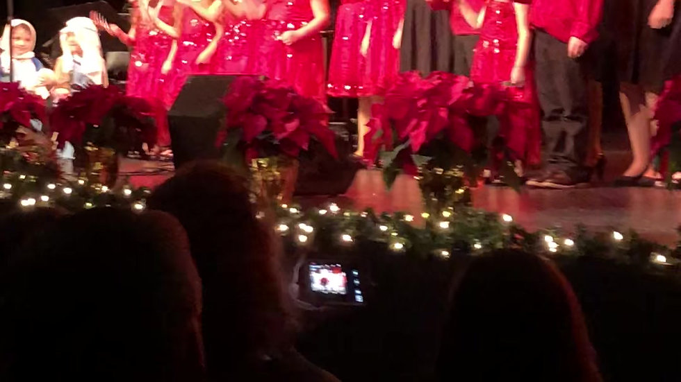 """The Little Language Studio singing """"Jingle Bells"""" on-stage at Symphony Space, NYC"""