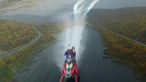 Verdensrekord med snøscooter på elv