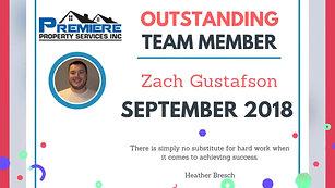 September 2018 Team Member of the Month