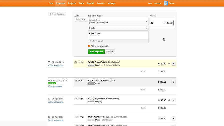 Harvest Time Tracking - Creating and Editing Business Expenses