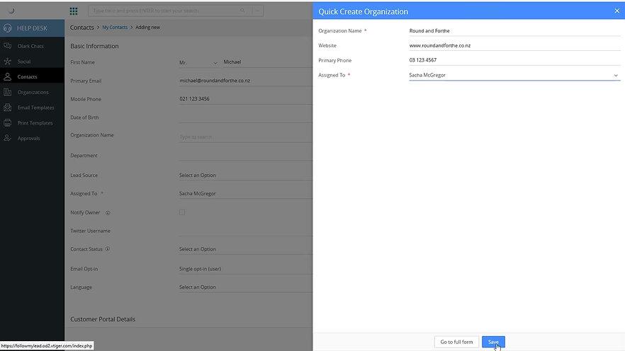 VTiger CRM Software - Entering A New Contact