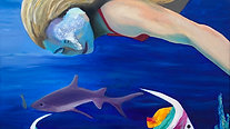 Free Diving original oil painting on canvas 80x100cm.