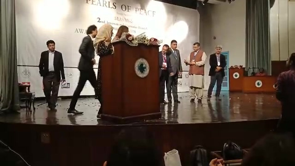 Life Time Achievement Award - International Art Biennale 2018. Artist's son Mohsin Ali receiving award on artist's behalf.