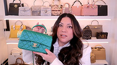 CHANEL FLAP BAG WITH HANDLE in GREEN IRIDESCENT | Naomi Peris